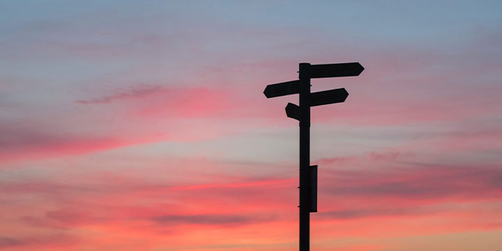 signs and colourful sky