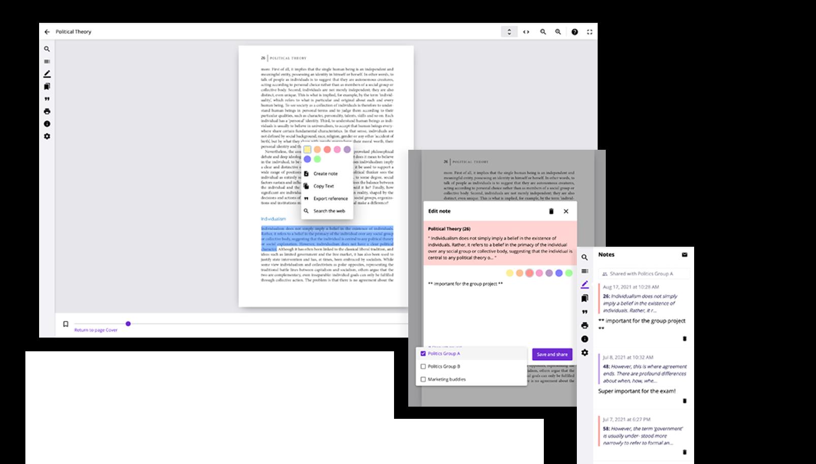 Bookshelf Page Notes Screenshots