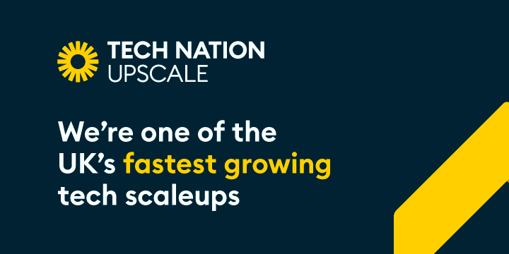 """Navy background with text that reads: """"We're one of the UK's fastest growing tech scaleups."""""""